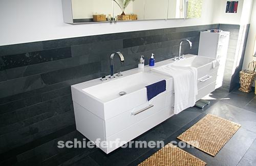 Schwarze Schiefer Flisen Black Rustic Im Badezimmer Pictures to pin on ...